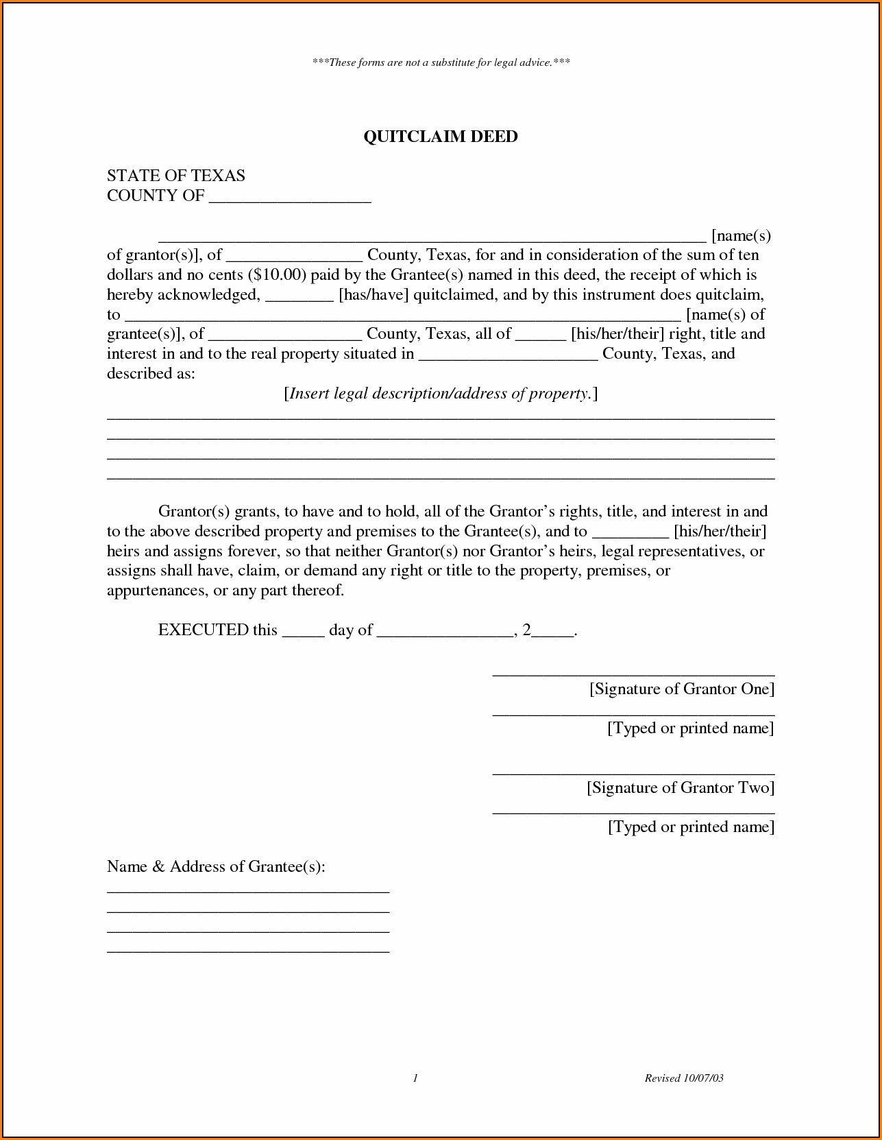Texas Quit Claim Deed Form Example