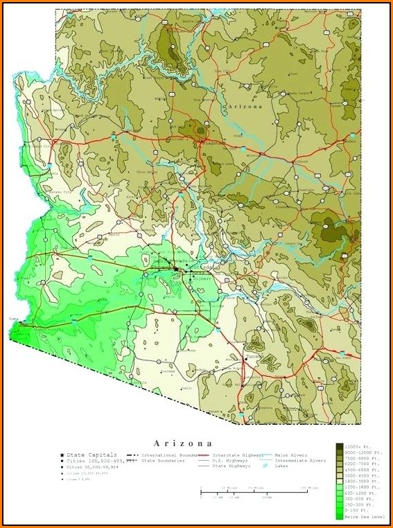 Topographic Map Of Arizona State