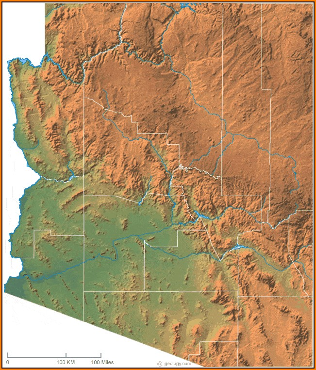 Topographical Map Of Arizona
