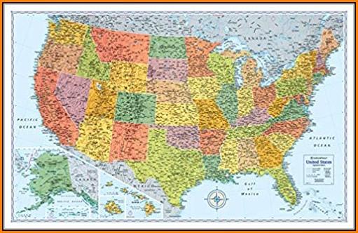 United States Wall Map Laminated