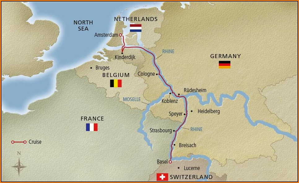 Viking Rhine River Cruise Map