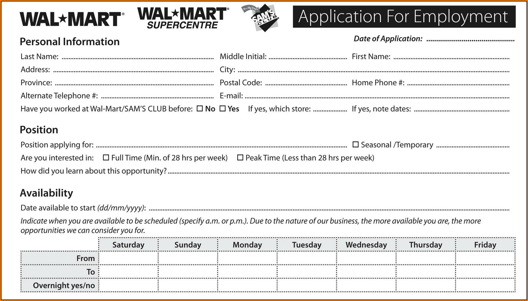 Walmart Stores Job Application