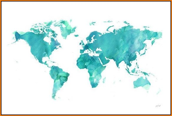 Watercolor World Map Desktop Wallpaper