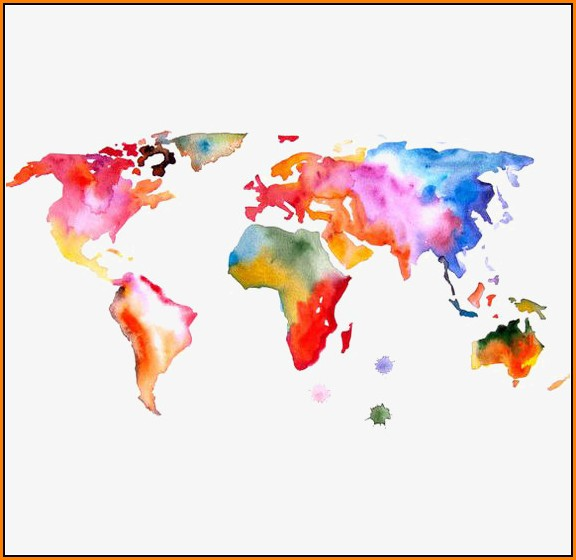 Watercolor World Map Png