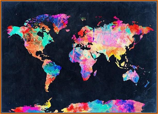 Watercolor World Map Wallpaper