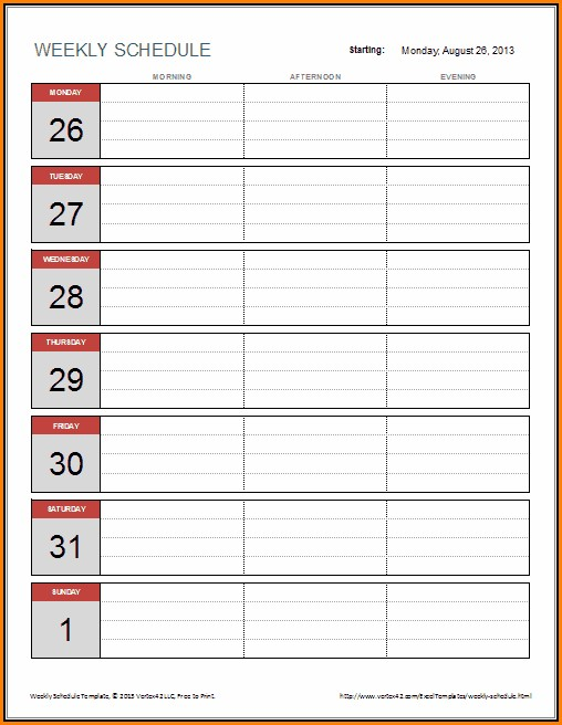 Weekly Schedule Template For Excel