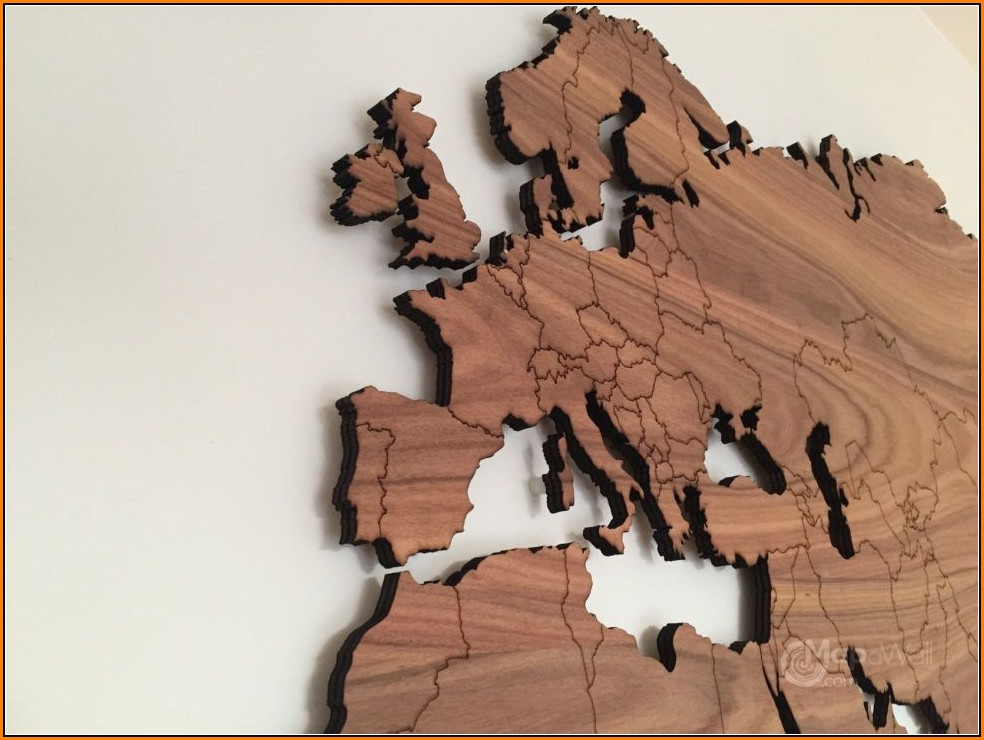 Wooden World Map Wall Decor