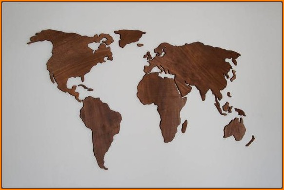 Wooden World Map Wall