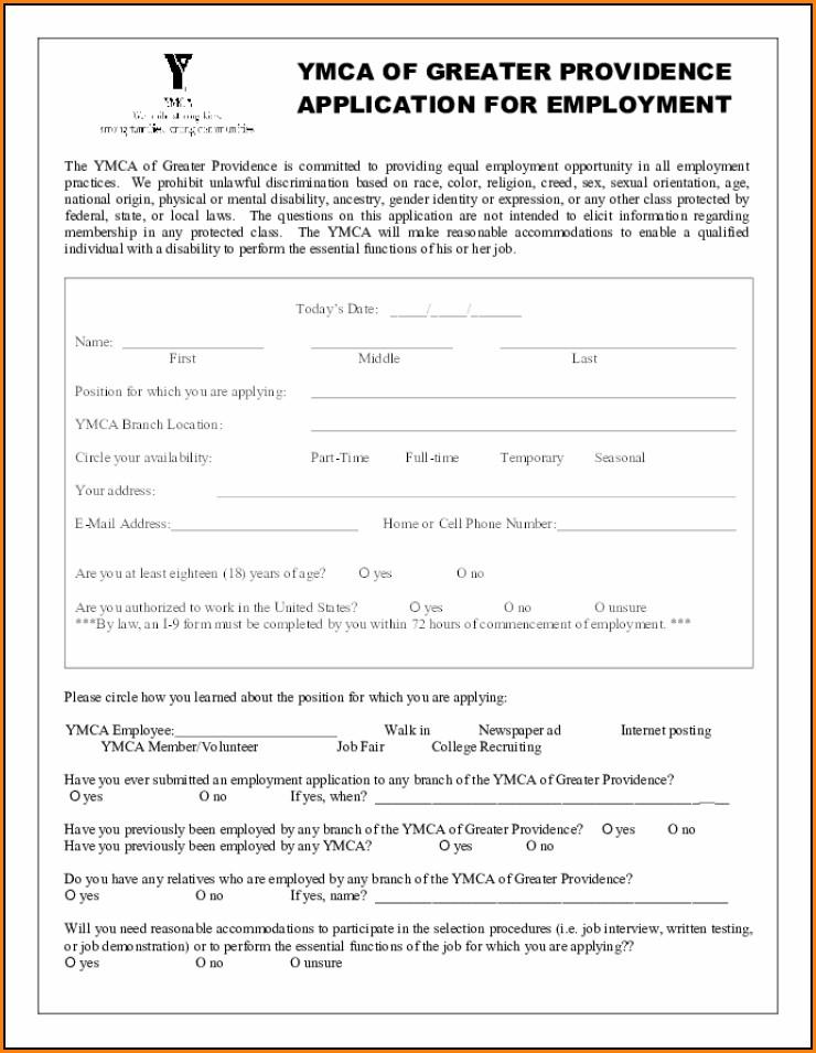 Ymca Job Application