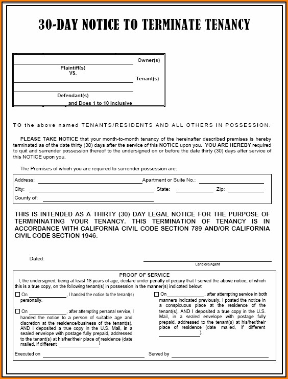 30 Day Eviction Notice California Form