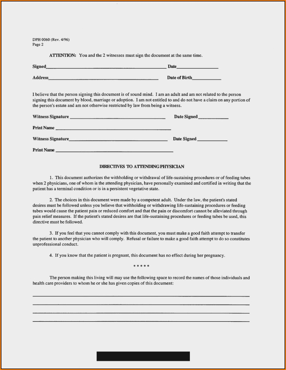 Advance Healthcare Directive Form California Spanish