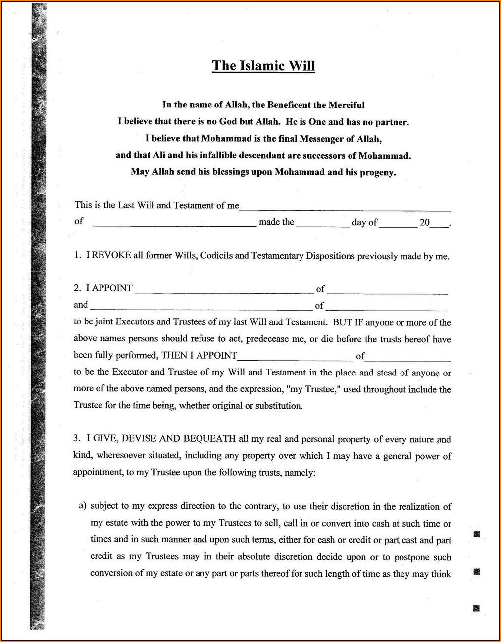 Advance Healthcare Directive Form
