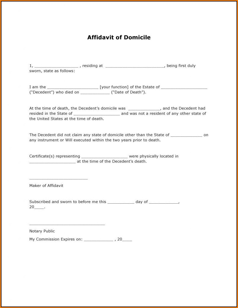 Affidavit Of Domicile Form Pdf