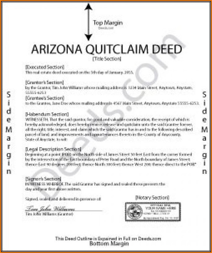 Arizona Quit Claim Deed Form