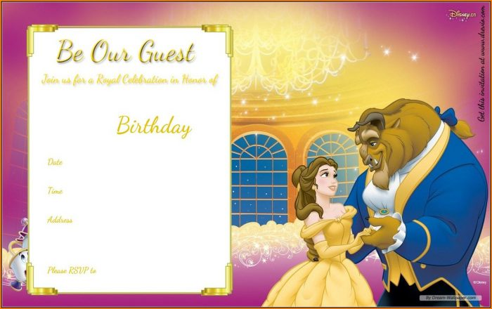 Beauty And The Beast Invitation Template