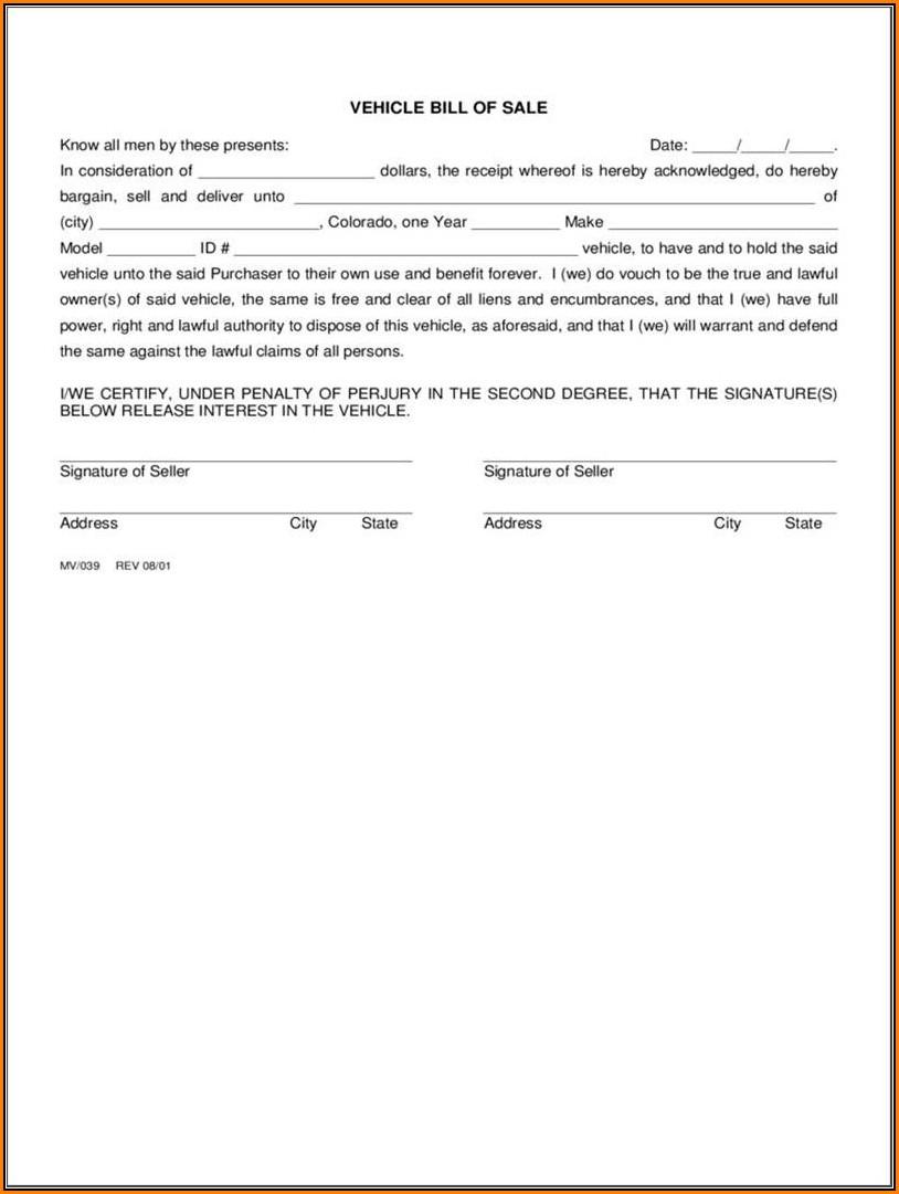 Bill Of Sale Colorado Word Template