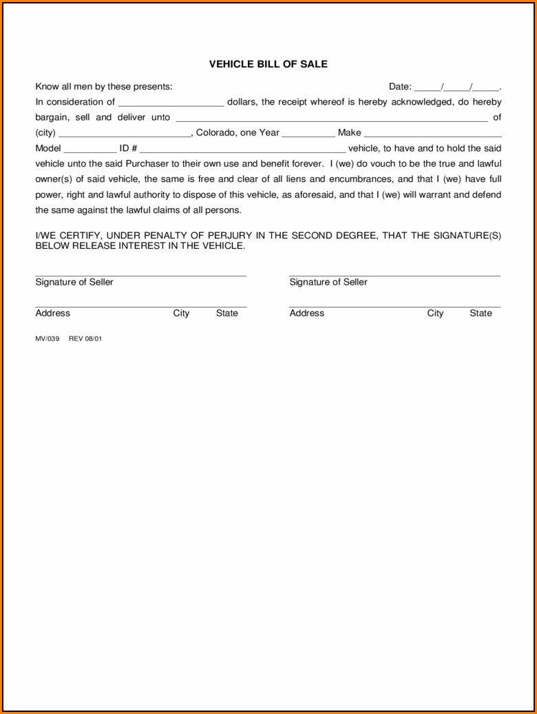 Bill Of Sale Template Colorado