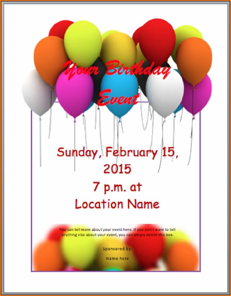 Birthday Invitation Templates Word Free