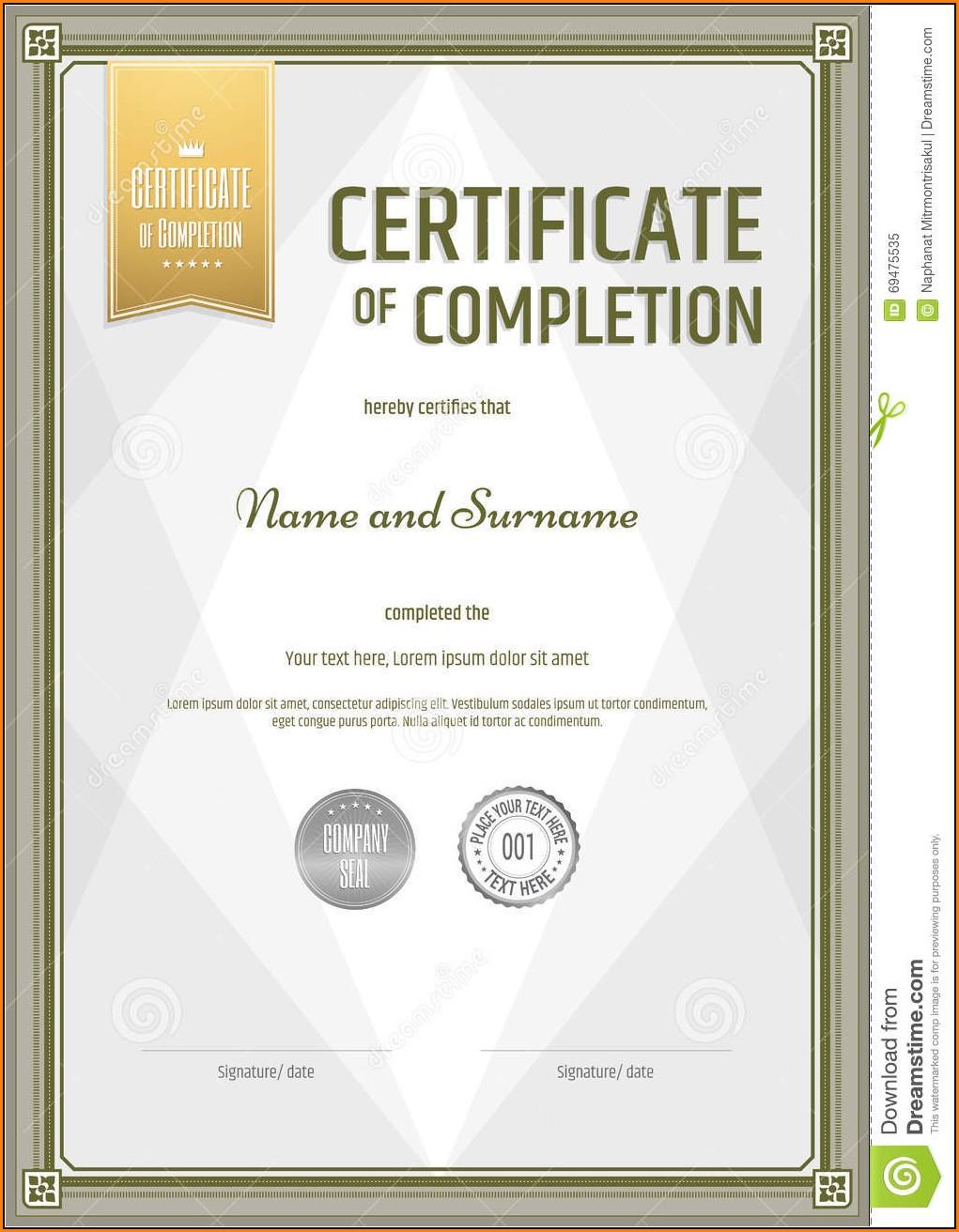 Blank Certificate Template Portrait