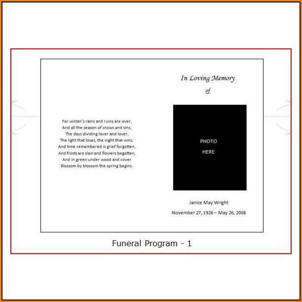 Blank Funeral Program Template Uk