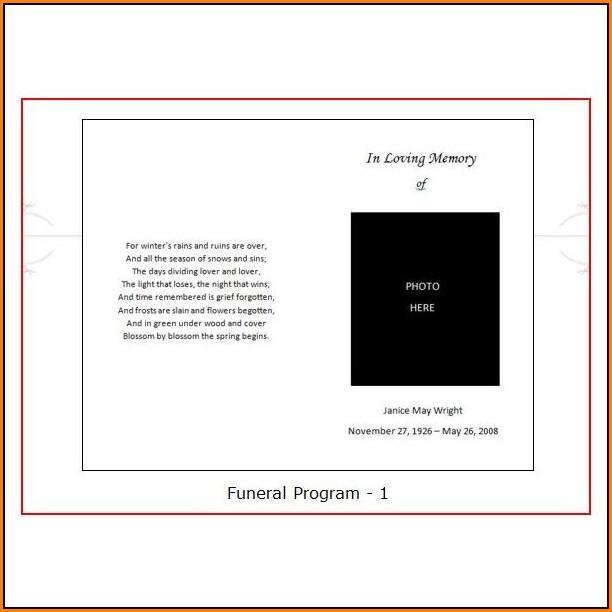 Blank Funeral Program Template Uk