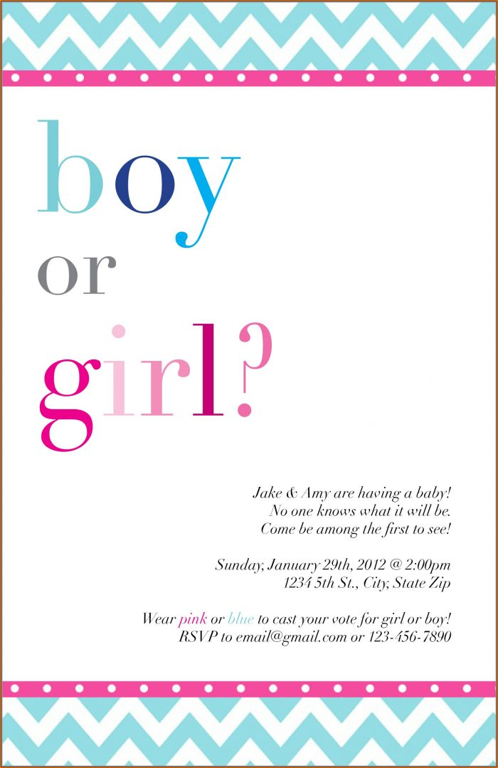 Blank Gender Reveal Invitation Template