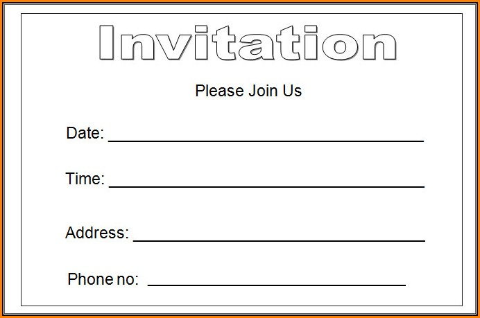 Blank Invitation Templates Free