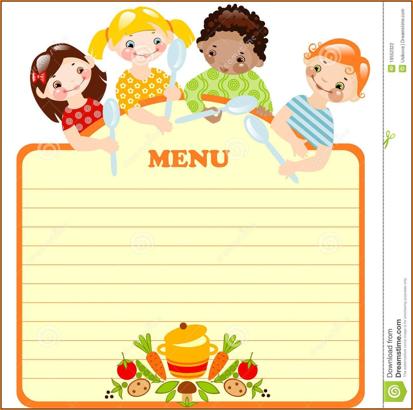 Blank Kids Menu Template