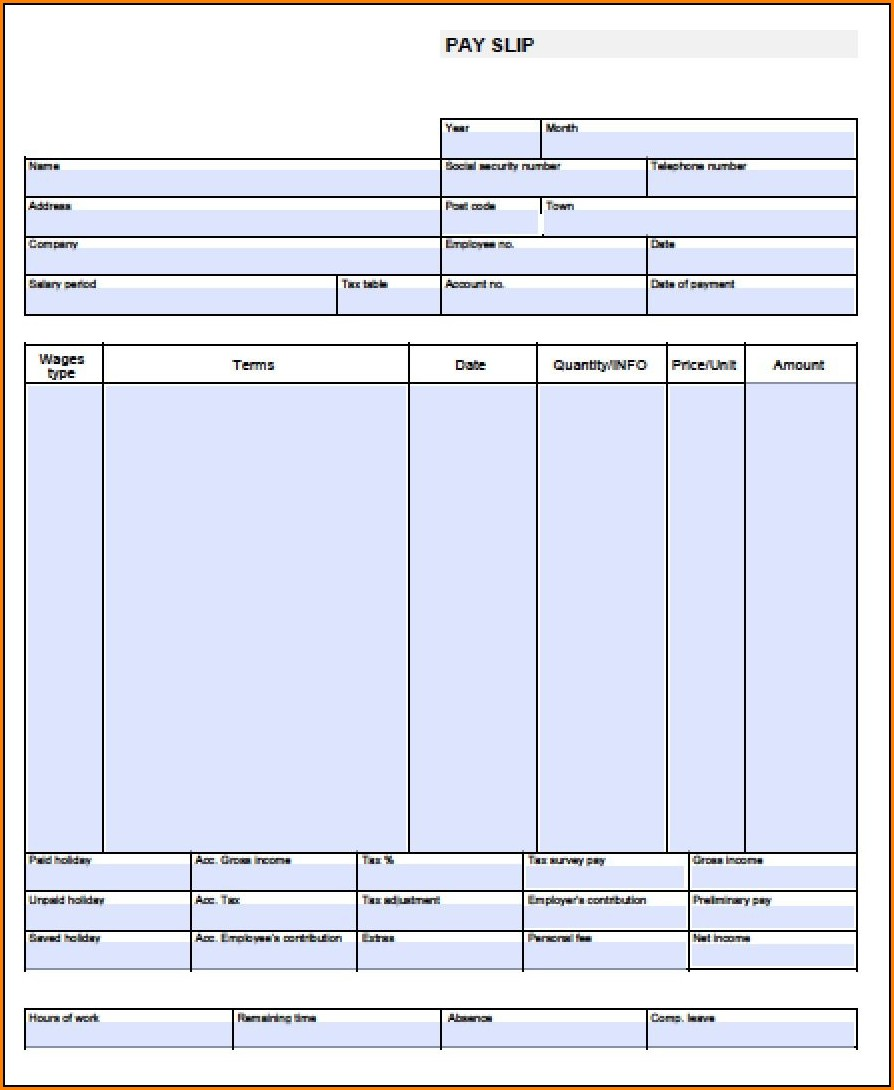 Blank Pay Stub Template Free