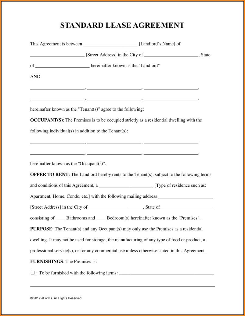 Blank Rental Lease Agreement Form