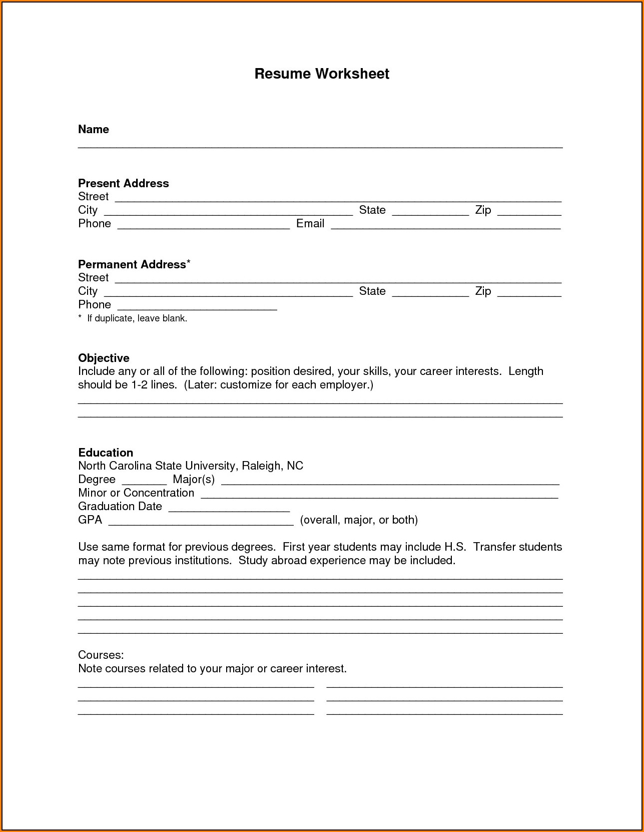 Blank Resume Format