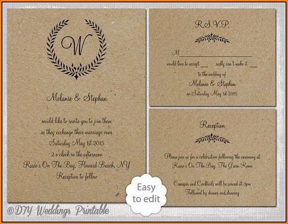 Blank Rustic Wedding Invitation Templates