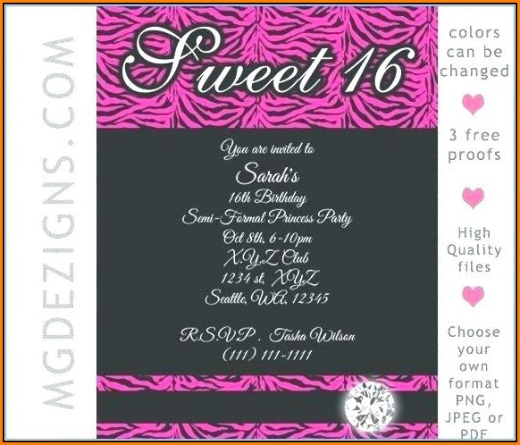 Blank Sweet 16 Invitations Templates