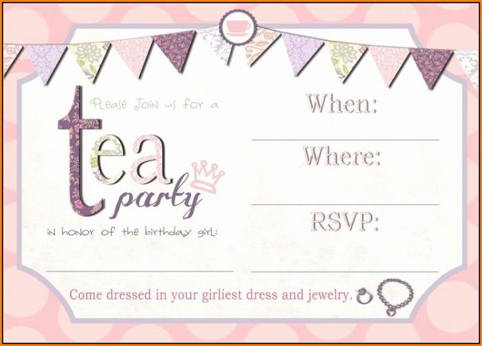 Blank Tea Party Invitation Template