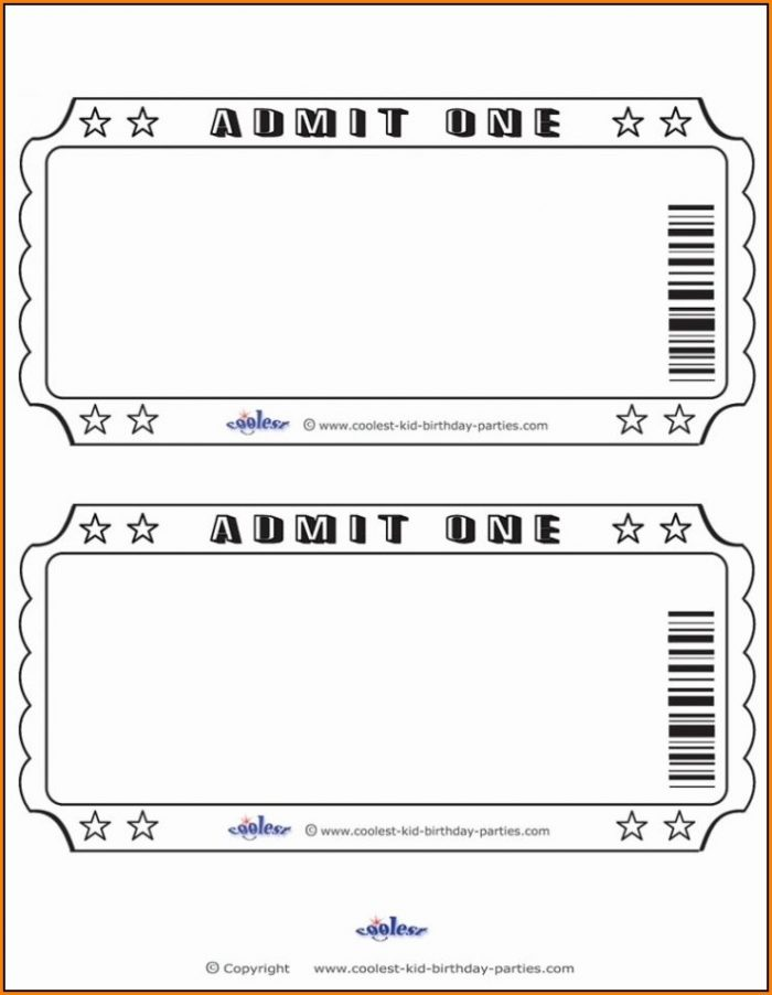 Blank Ticket Template Word