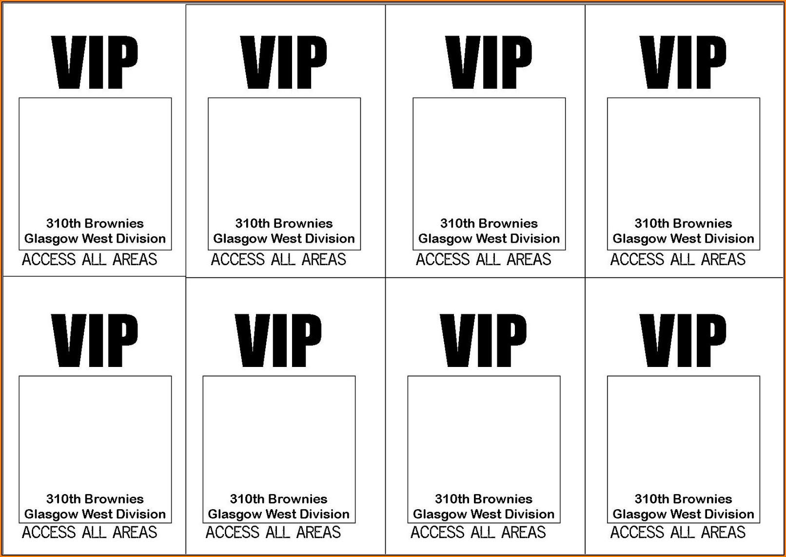 Blank Vip Pass Template