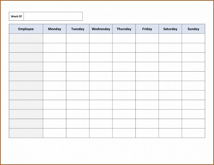 Blank Work Schedule Template Free