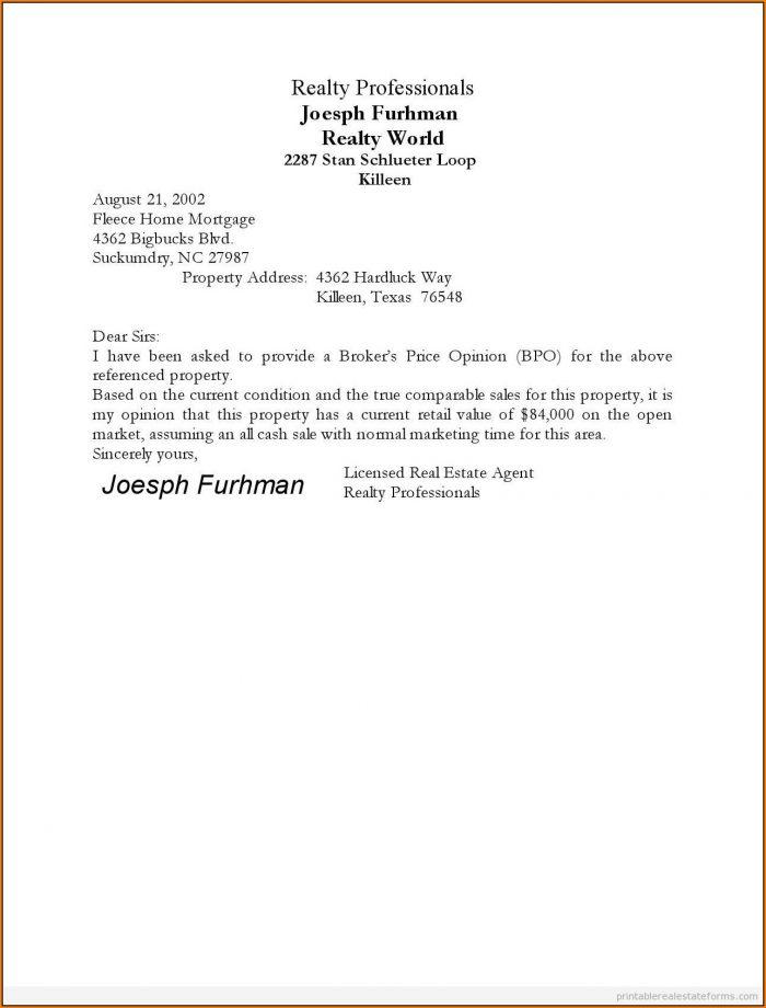 Broker Price Opinion Form