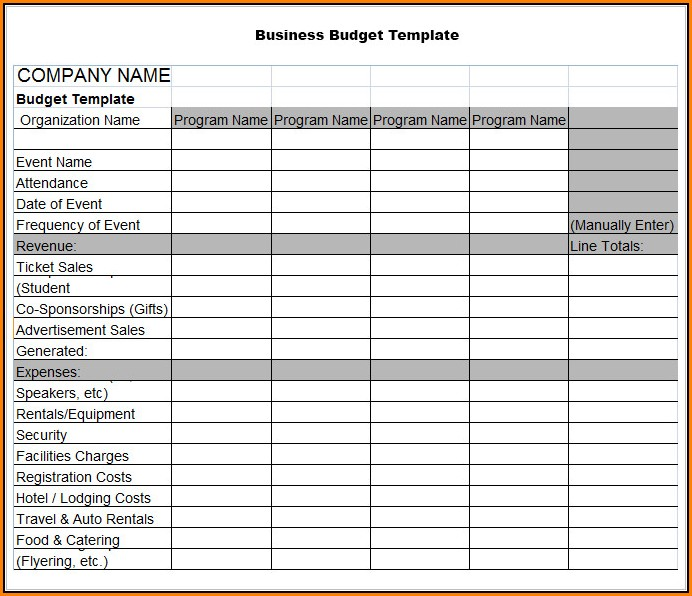 Business Budget Template Excel Free Download