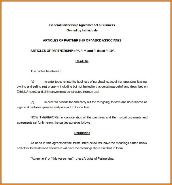 Business Partnership Agreement Template Word