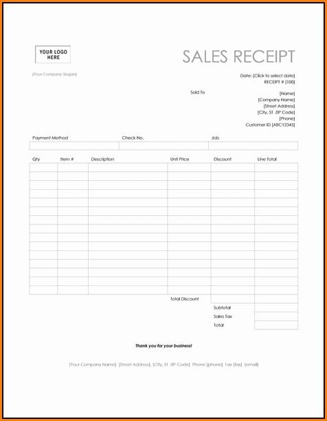 Business Receipt Template Microsoft Word