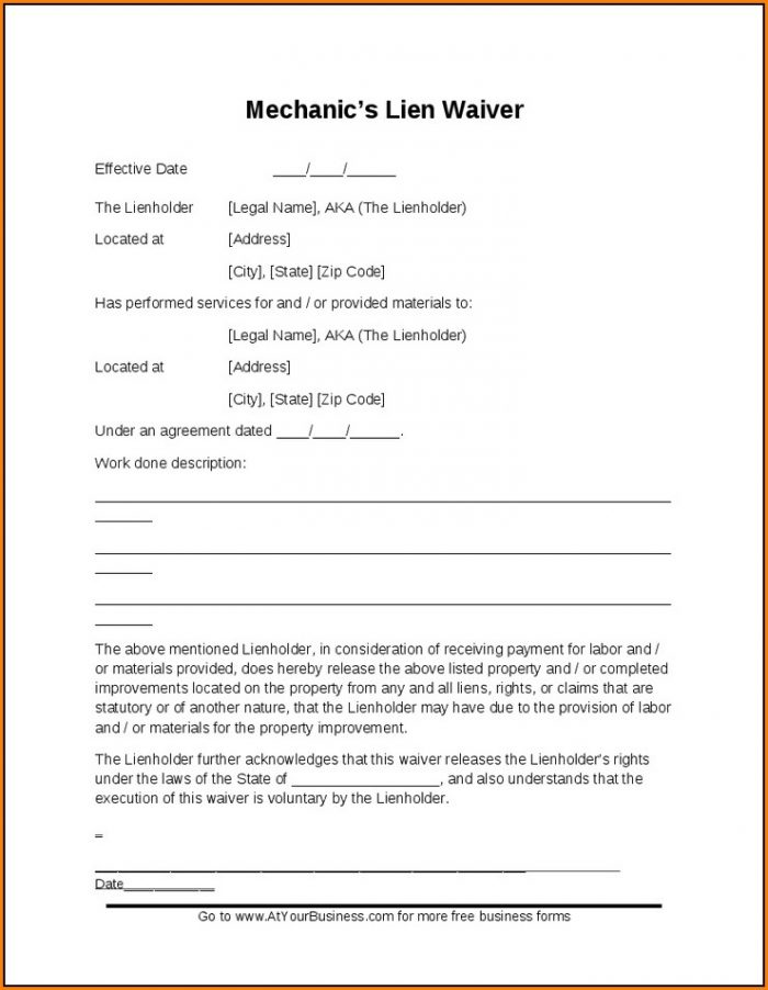 California Mechanics Lien Form 2018