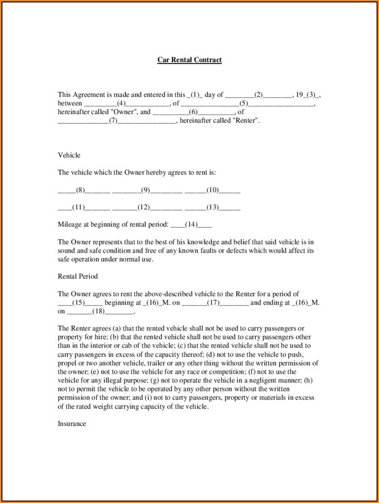 Car Rental Agreement Form Pdf