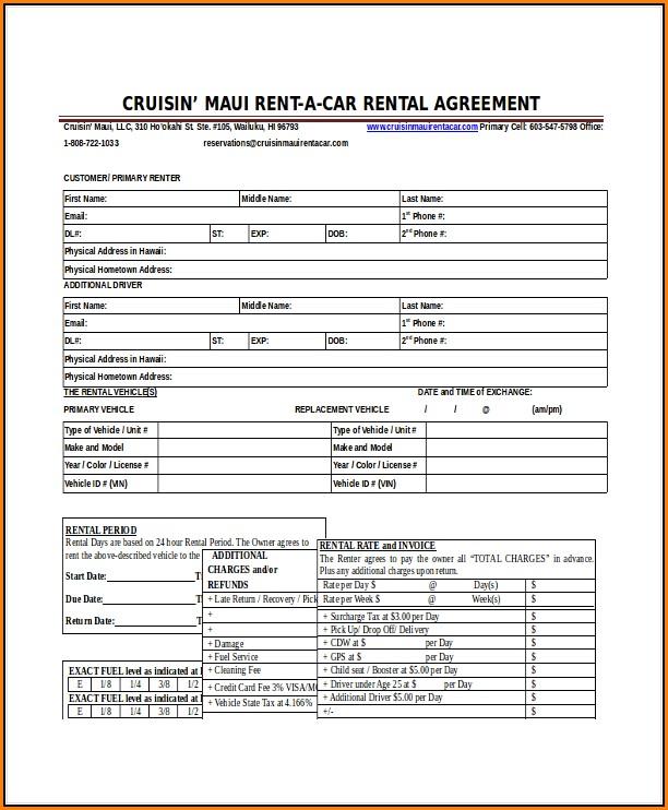 Car Rental Agreement Form Template