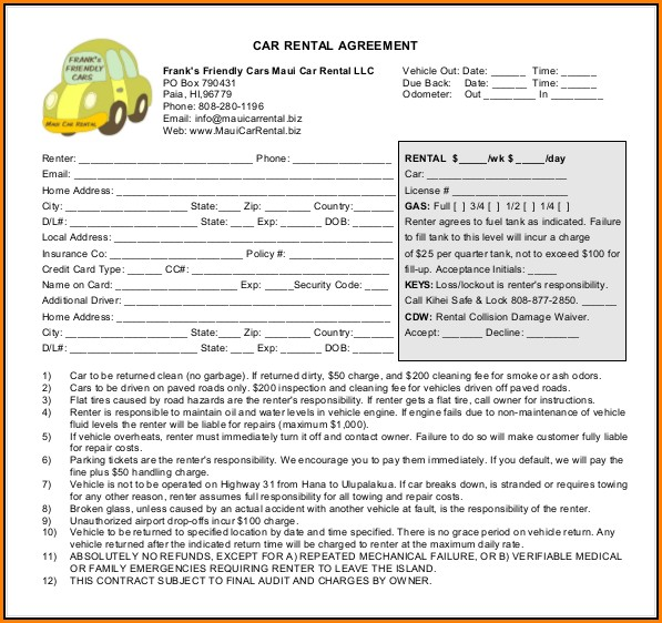 Car Rental Agreement Format
