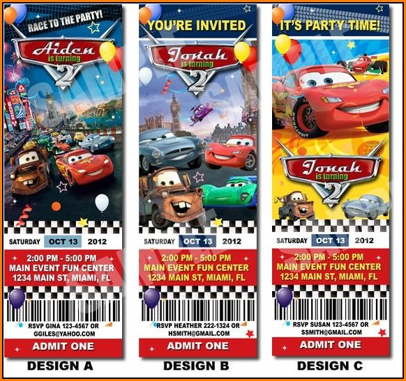 Cars Ticket Invitation Template Free