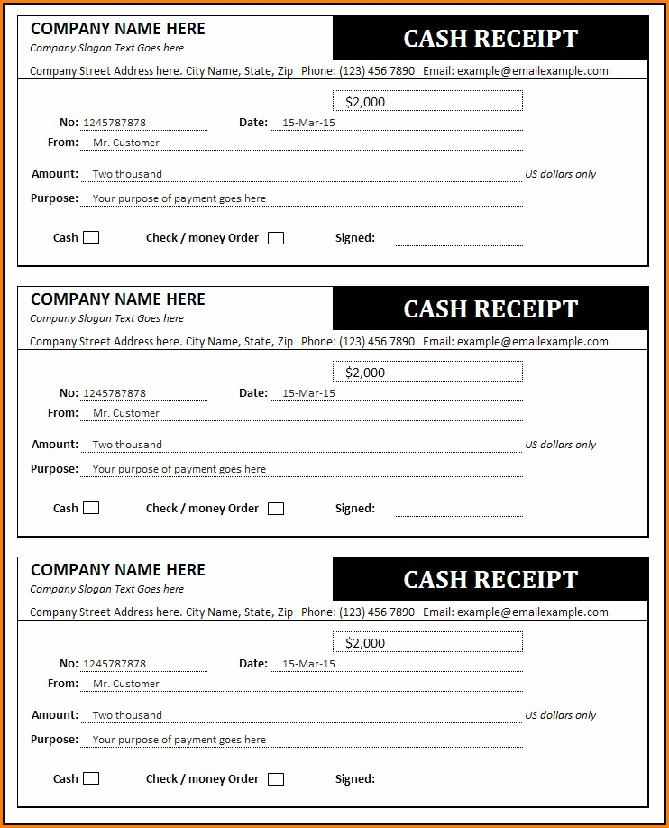 Cash Invoice Receipt Template