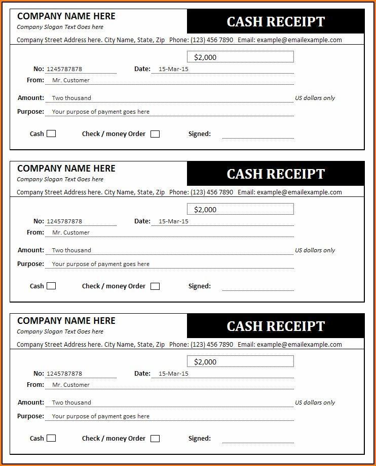 Cash Invoice Receipt Template