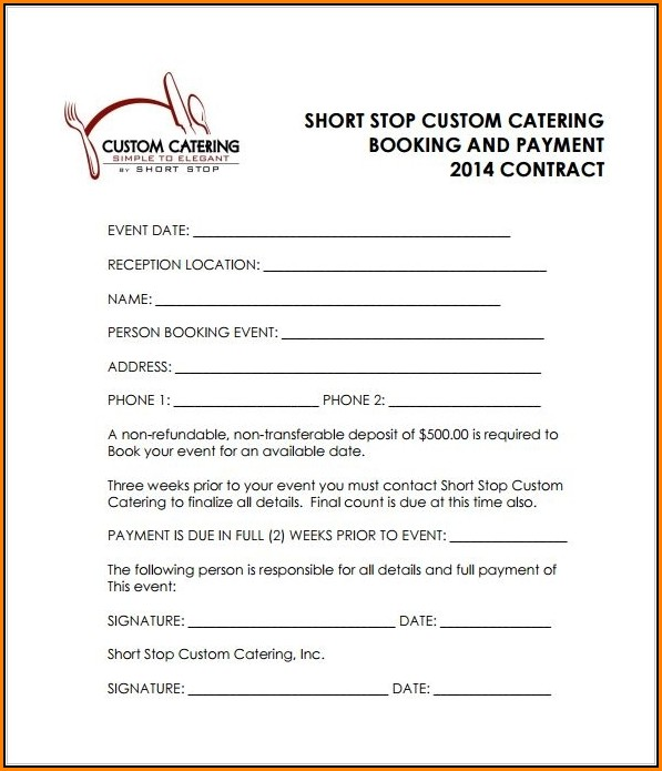 Catering Contract Template Doc