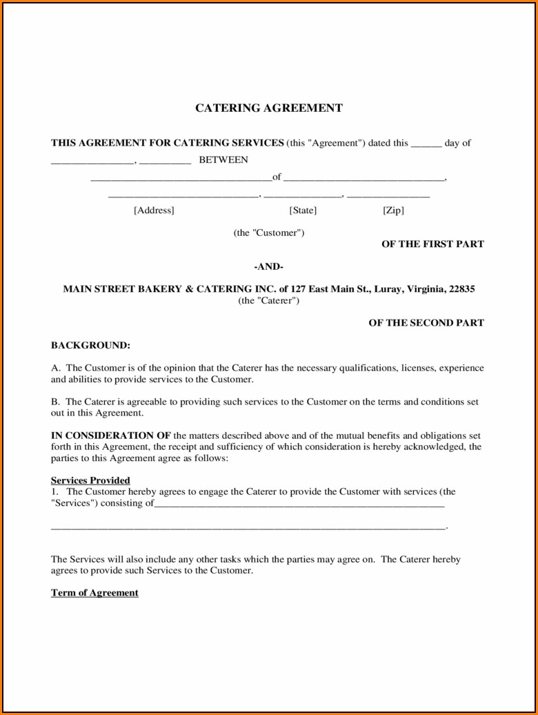 Catering Contract Template Pdf